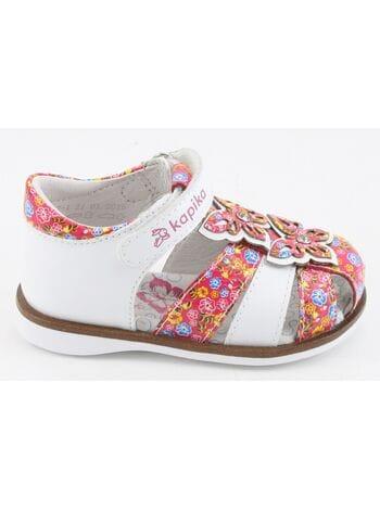 Туфли открытые Капика 31257-1 белый-фуксия (21-24)**