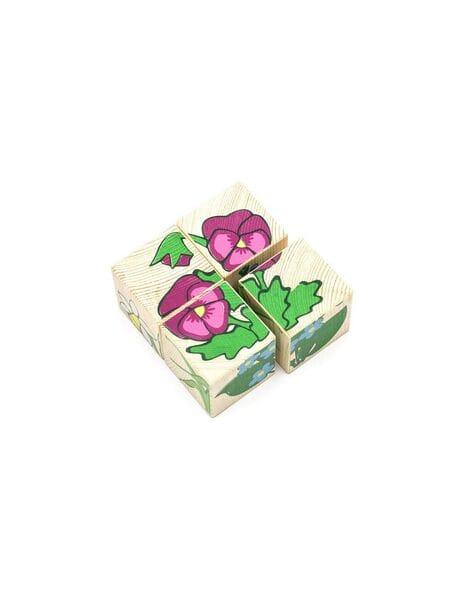 """(3333-7) Кубики """"Цветочки"""" 4 шт.*"""