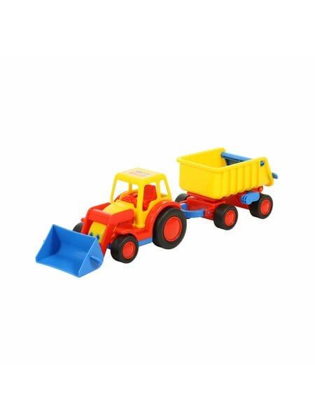 """""""Базик"""", трактор-погрузчик с прицепом (в сеточке) 9623*"""