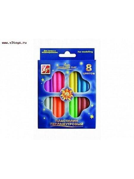 Пластилин перламутровый 8 цветов,стек,18С1197-08*